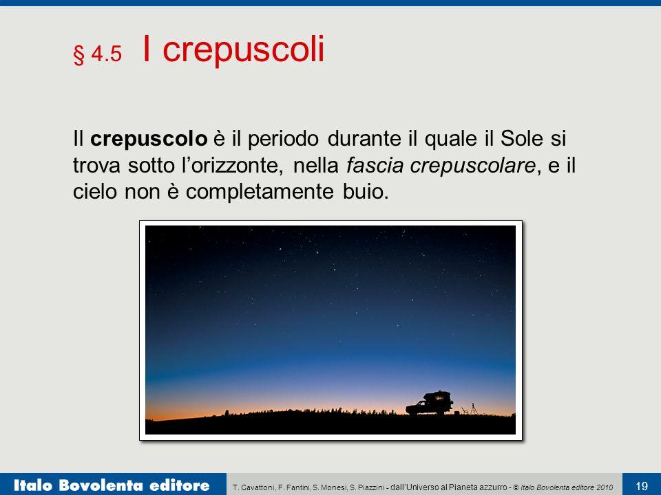 T. Cavattoni, F. Fantini, S. Monesi, S. Piazzini - dall'Universo al Pianeta azzurro - © Italo Bovolenta editore 2010 19 § 4.5 I crepuscoli Il crepusco