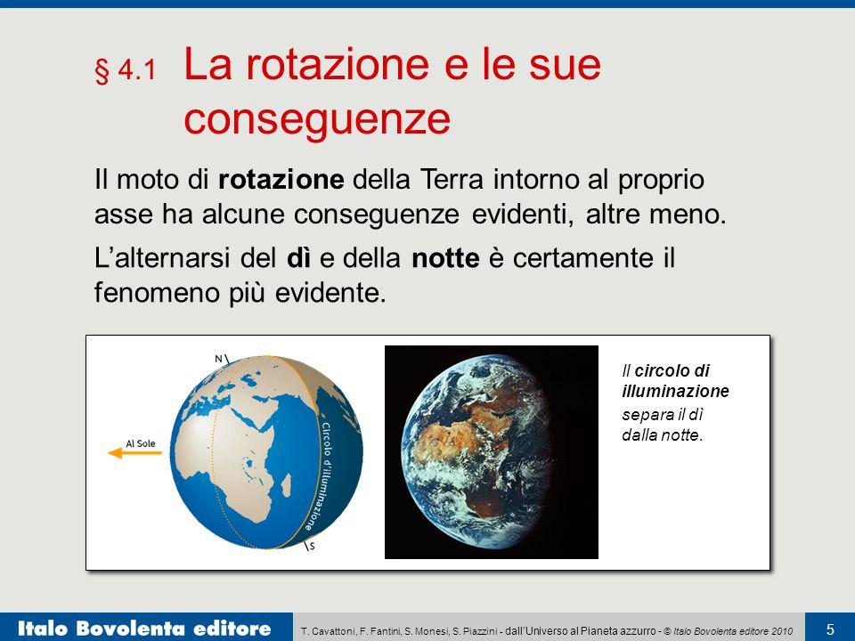 T. Cavattoni, F. Fantini, S. Monesi, S. Piazzini - dall'Universo al Pianeta azzurro - © Italo Bovolenta editore 2010 5 § 4.1 La rotazione e le sue con