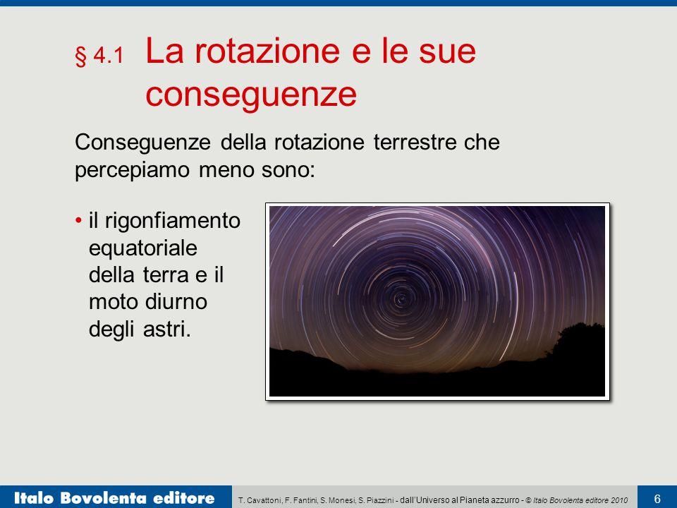 T. Cavattoni, F. Fantini, S. Monesi, S. Piazzini - dall'Universo al Pianeta azzurro - © Italo Bovolenta editore 2010 6 § 4.1 La rotazione e le sue con