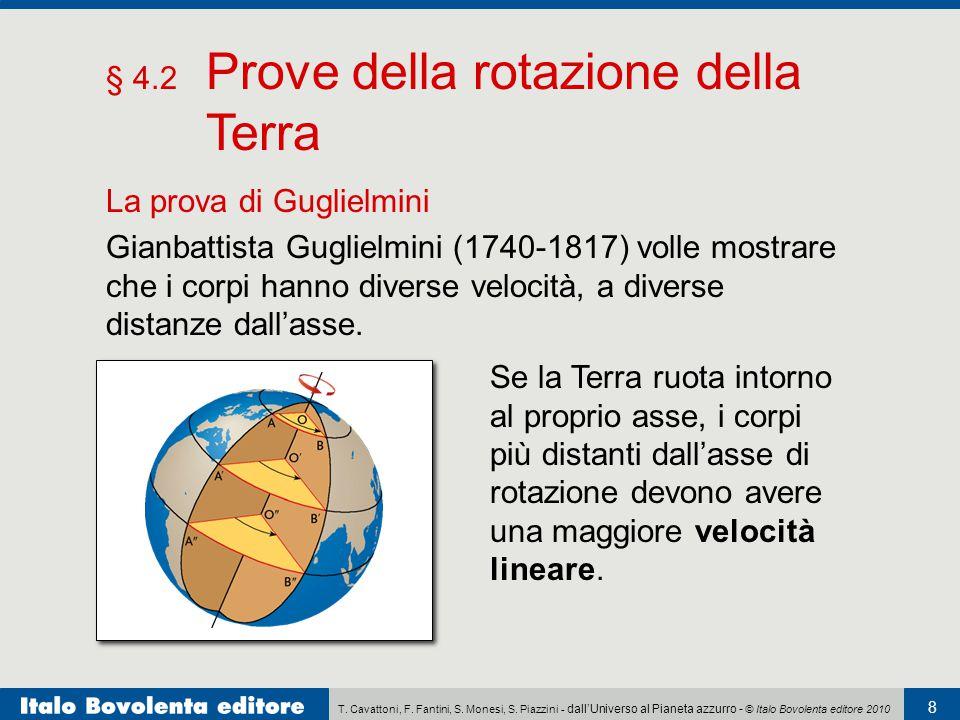 T. Cavattoni, F. Fantini, S. Monesi, S. Piazzini - dall'Universo al Pianeta azzurro - © Italo Bovolenta editore 2010 8 § 4.2 Prove della rotazione del