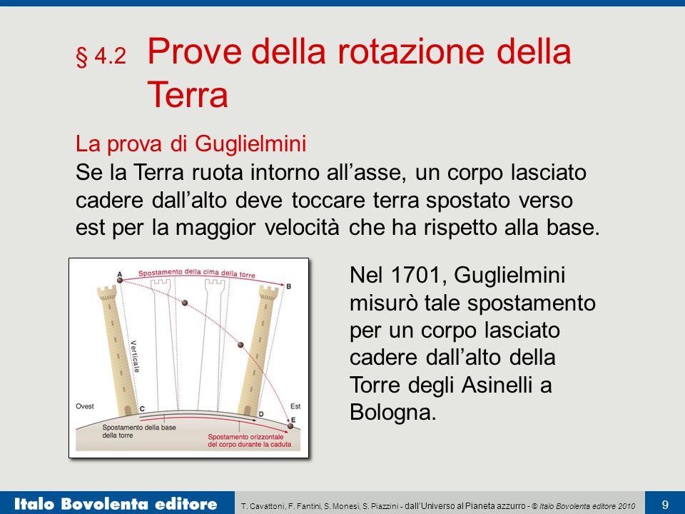 T. Cavattoni, F. Fantini, S. Monesi, S. Piazzini - dall'Universo al Pianeta azzurro - © Italo Bovolenta editore 2010 9 § 4.2 Prove della rotazione del