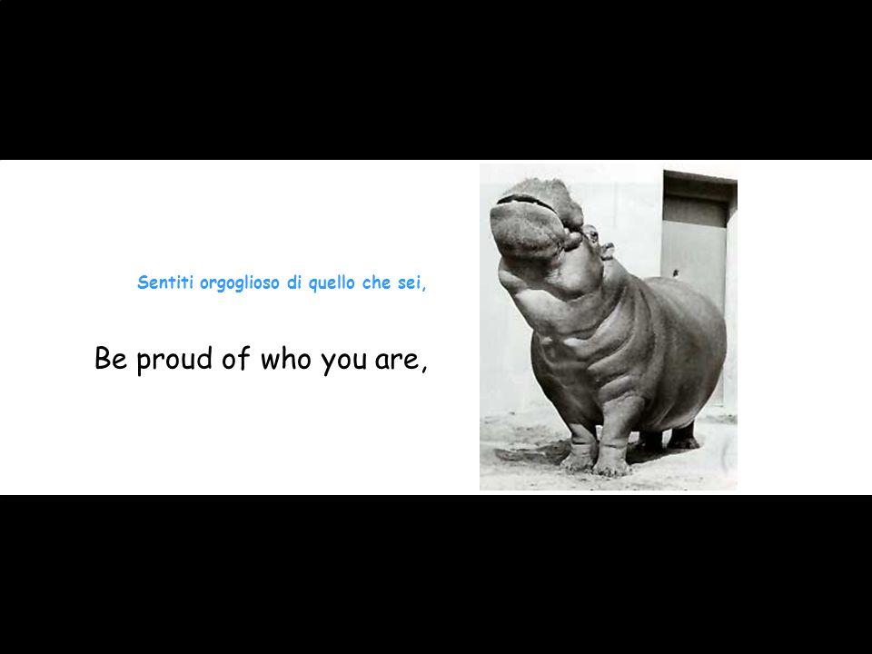 Sentiti orgoglioso di quello che sei, Be proud of who you are,
