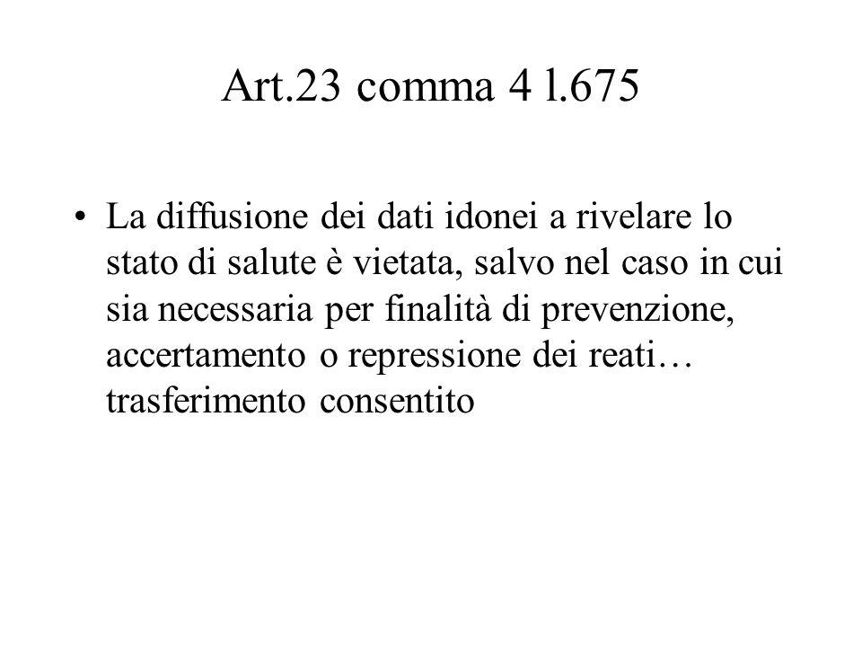 Art.23 comma 4 l.675 La diffusione dei dati idonei a rivelare lo stato di salute è vietata, salvo nel caso in cui sia necessaria per finalità di prevenzione, accertamento o repressione dei reati… trasferimento consentito