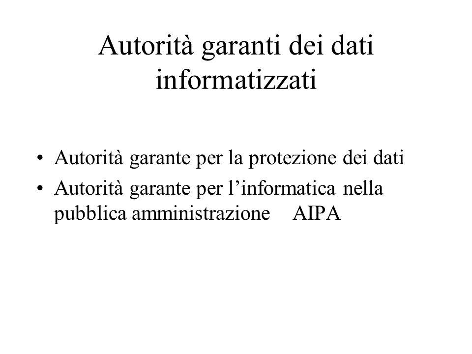 Autorità garanti dei dati informatizzati Autorità garante per la protezione dei dati Autorità garante per l'informatica nella pubblica amministrazione AIPA