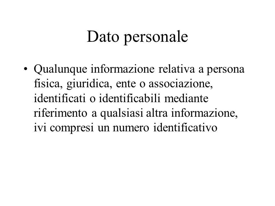 Dato personale Qualunque informazione relativa a persona fisica, giuridica, ente o associazione, identificati o identificabili mediante riferimento a qualsiasi altra informazione, ivi compresi un numero identificativo