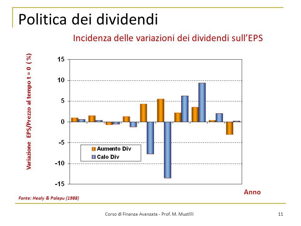 Politica dei dividendi 11 Corso di Finanza Avanzata - Prof. M. Mustilli Fonte: Healy & Palepu (1988) Variazione EPS/Prezzo al tempo t = 0 ( %) Anno In