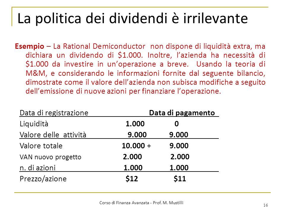 La politica dei dividendi è irrilevante 16 Corso di Finanza Avanzata - Prof. M. Mustilli Esempio – La Rational Demiconductor non dispone di liquidità