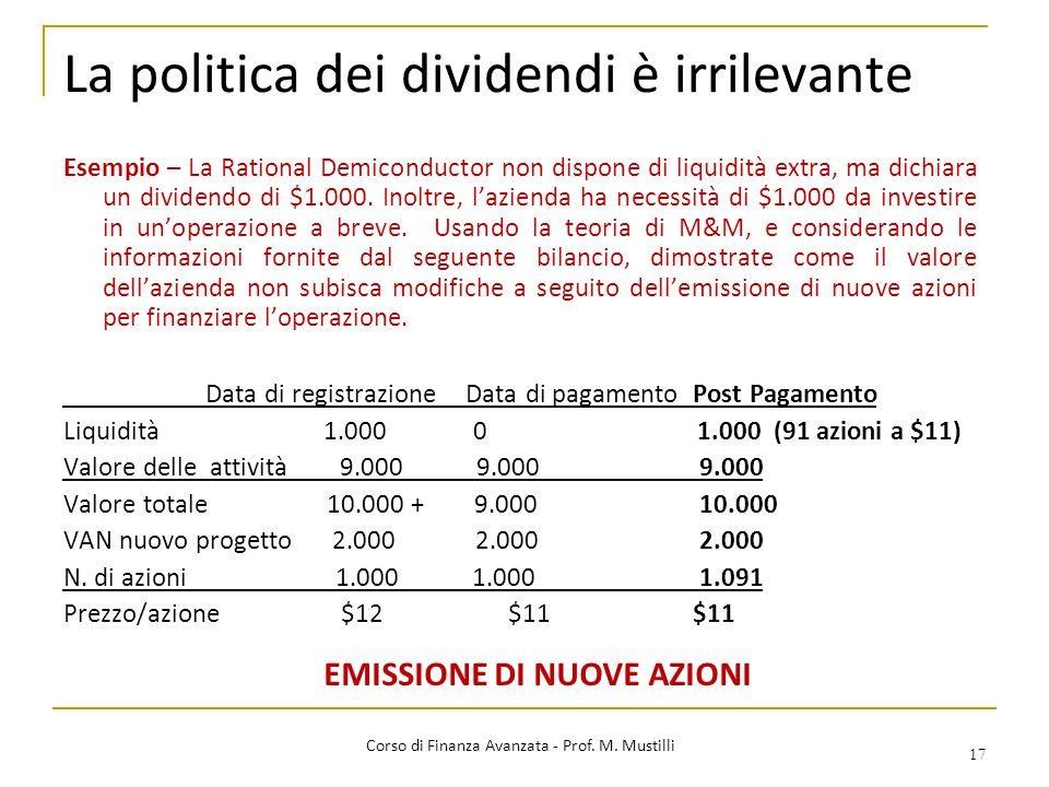 La politica dei dividendi è irrilevante 17 Corso di Finanza Avanzata - Prof. M. Mustilli Esempio – La Rational Demiconductor non dispone di liquidità