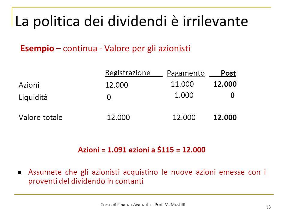 La politica dei dividendi è irrilevante 18 Corso di Finanza Avanzata - Prof. M. Mustilli Esempio – continua - Valore per gli azionisti Registrazione A