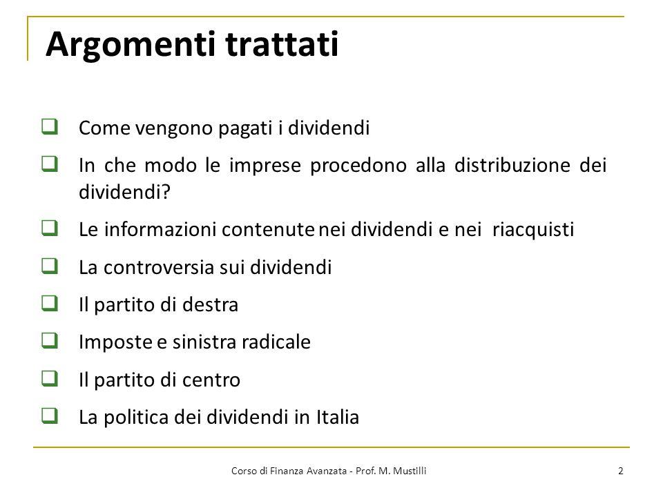 Tipi di dividendo 3 Corso di Finanza Avanzata - Prof.