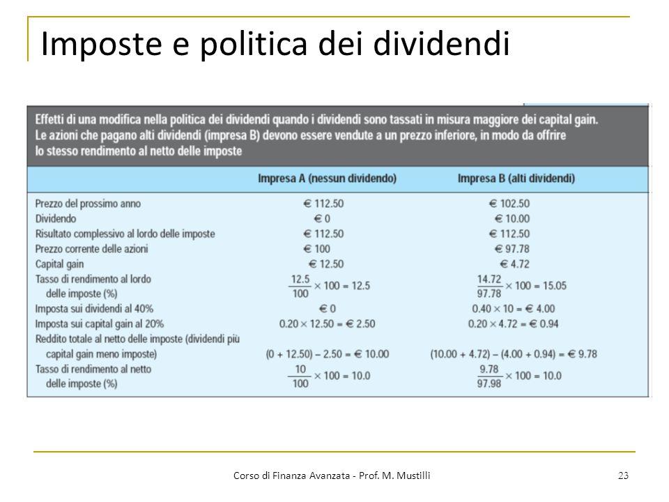 23 Imposte e politica dei dividendi Corso di Finanza Avanzata - Prof. M. Mustilli
