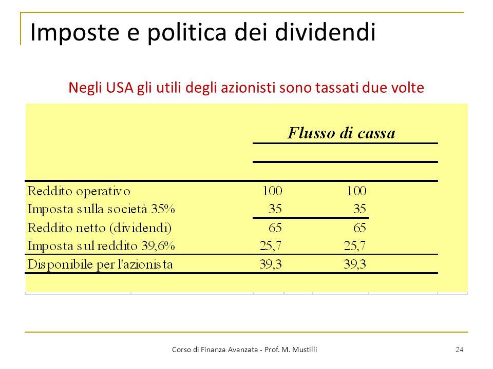 24 Imposte e politica dei dividendi Corso di Finanza Avanzata - Prof. M. Mustilli Negli USA gli utili degli azionisti sono tassati due volte