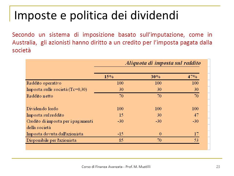 25 Imposte e politica dei dividendi Corso di Finanza Avanzata - Prof. M. Mustilli Secondo un sistema di imposizione basato sull'imputazione, come in A