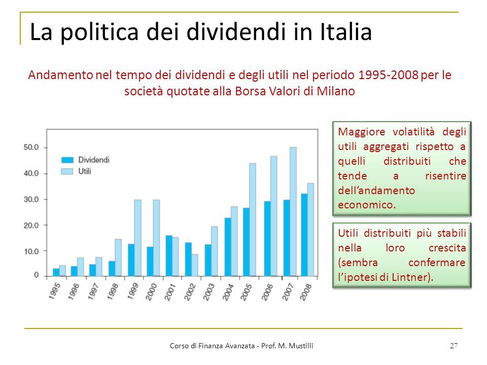 27 La politica dei dividendi in Italia Corso di Finanza Avanzata - Prof. M. Mustilli Andamento nel tempo dei dividendi e degli utili nel periodo 1995-
