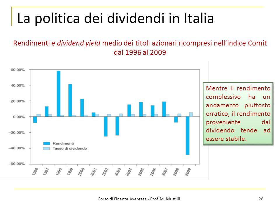28 La politica dei dividendi in Italia Corso di Finanza Avanzata - Prof. M. Mustilli Rendimenti e dividend yield medio dei titoli azionari ricompresi