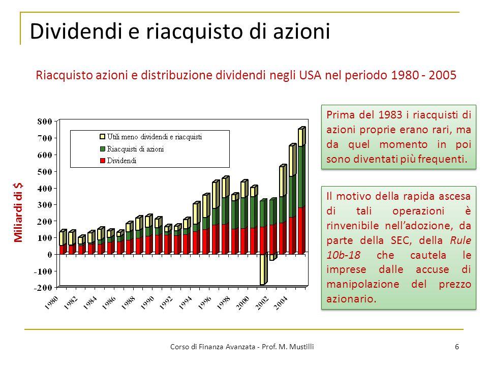 Dividendi e riacquisto di azioni 6 Corso di Finanza Avanzata - Prof. M. Mustilli Miliardi di $ Riacquisto azioni e distribuzione dividendi negli USA n