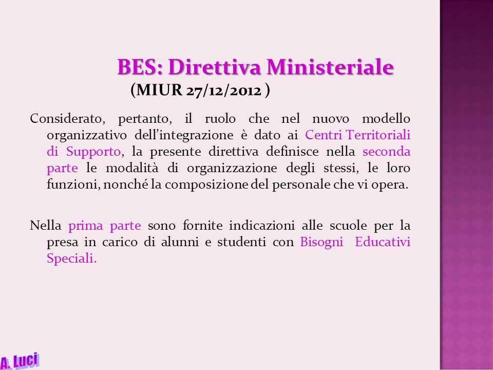 BES: Direttiva Ministeriale BES: Direttiva Ministeriale (MIUR 27/12/2012 ) Considerato, pertanto, il ruolo che nel nuovo modello organizzativo dell'integrazione è dato ai Centri Territoriali di Supporto, la presente direttiva definisce nella seconda parte le modalità di organizzazione degli stessi, le loro funzioni, nonché la composizione del personale che vi opera.