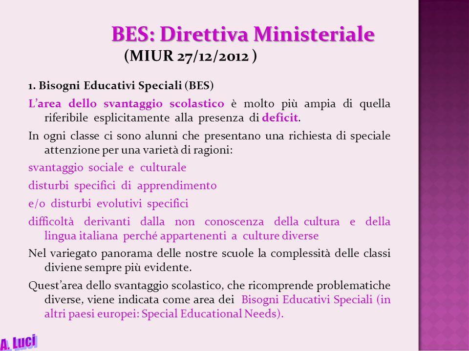BES: Direttiva Ministeriale BES: Direttiva Ministeriale (MIUR 27/12/2012 ) 1.