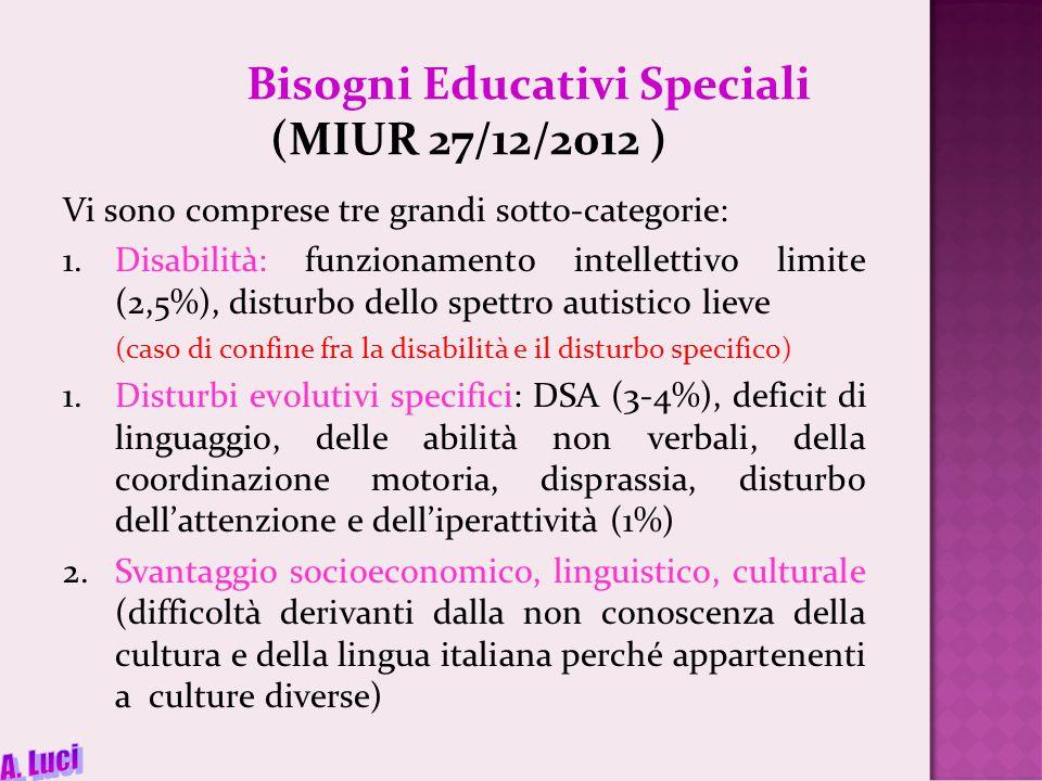 Bisogni Educativi Speciali (MIUR 27/12/2012 ) Vi sono comprese tre grandi sotto-categorie: 1.Disabilità: funzionamento intellettivo limite (2,5%), disturbo dello spettro autistico lieve (caso di confine fra la disabilità e il disturbo specifico) 1.Disturbi evolutivi specifici: DSA (3-4%), deficit di linguaggio, delle abilità non verbali, della coordinazione motoria, disprassia, disturbo dell'attenzione e dell'iperattività (1%) 2.Svantaggio socioeconomico, linguistico, culturale (difficoltà derivanti dalla non conoscenza della cultura e della lingua italiana perché appartenenti a culture diverse)