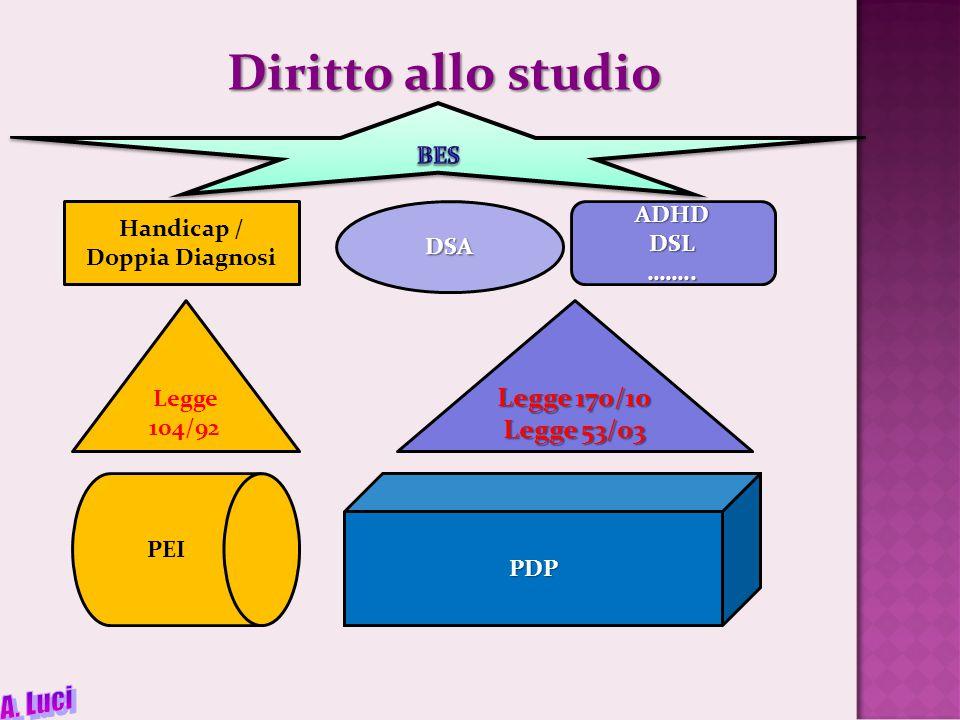 Diritto allo studio Handicap / Doppia DiagnosiDSAADHDDSL……..