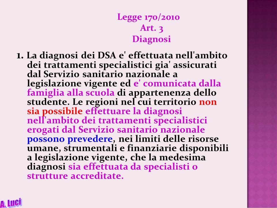 Legge 170/2010 Art.3 Diagnosi 1.
