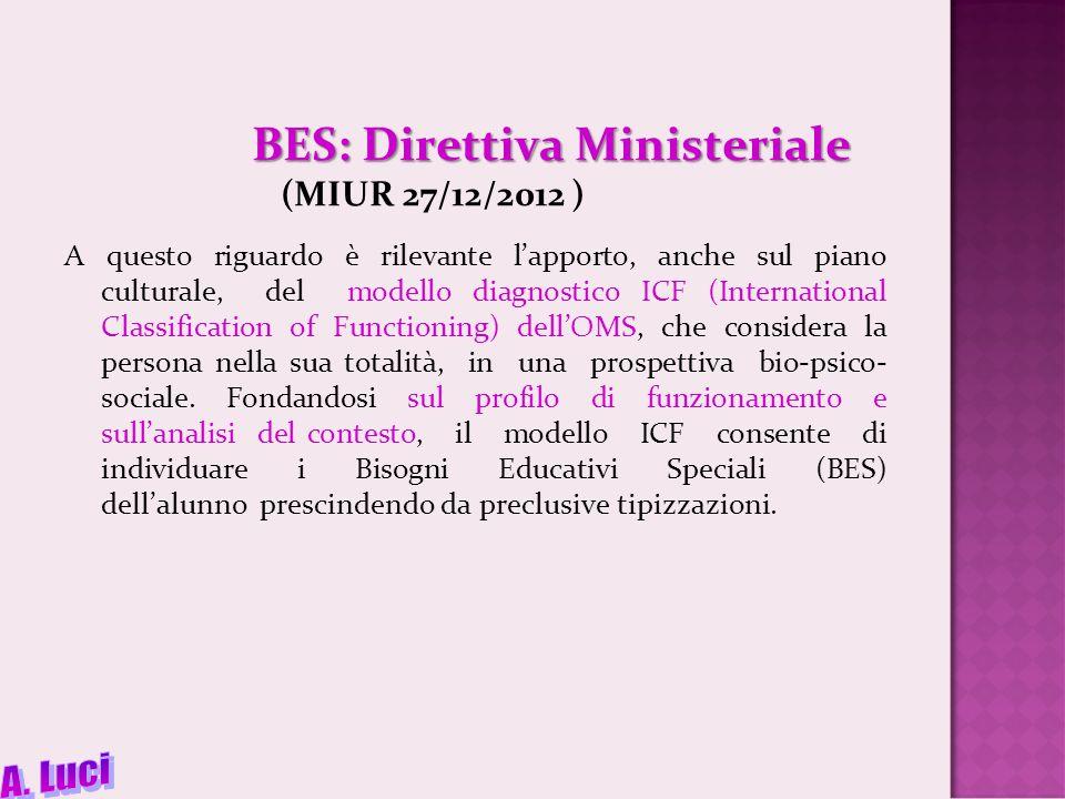 BES: Direttiva Ministeriale BES: Direttiva Ministeriale (MIUR 27/12/2012 ) A questo riguardo è rilevante l'apporto, anche sul piano culturale, del modello diagnostico ICF (International Classification of Functioning) dell'OMS, che considera la persona nella sua totalità, in una prospettiva bio-psico- sociale.