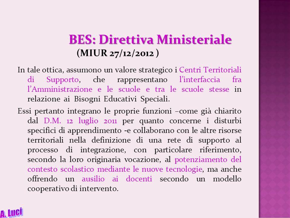 BES: Direttiva Ministeriale BES: Direttiva Ministeriale (MIUR 27/12/2012 ) In tale ottica, assumono un valore strategico i Centri Territoriali di Supporto, che rappresentano l'interfaccia fra l'Amministrazione e le scuole e tra le scuole stesse in relazione ai Bisogni Educativi Speciali.