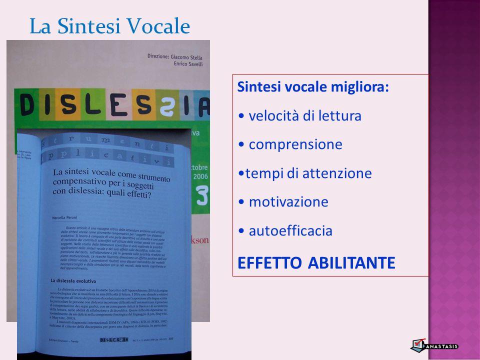 La Sintesi Vocale Sintesi vocale migliora: velocità di lettura comprensione tempi di attenzione motivazione autoefficacia EFFETTO ABILITANTE