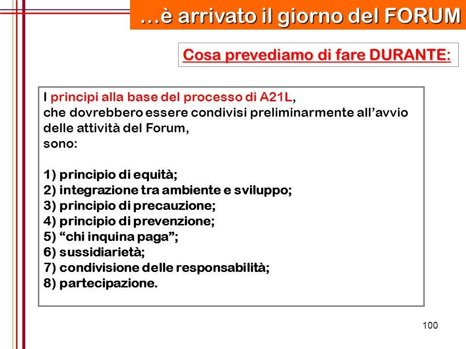 100 I principi alla base del processo di A21L, che dovrebbero essere condivisi preliminarmente all'avvio delle attività del Forum, sono: 1) principio