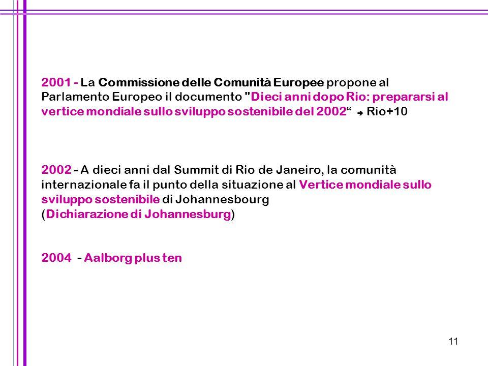 11 2001 - La Commissione delle Comunità Europee propone al Parlamento Europeo il documento
