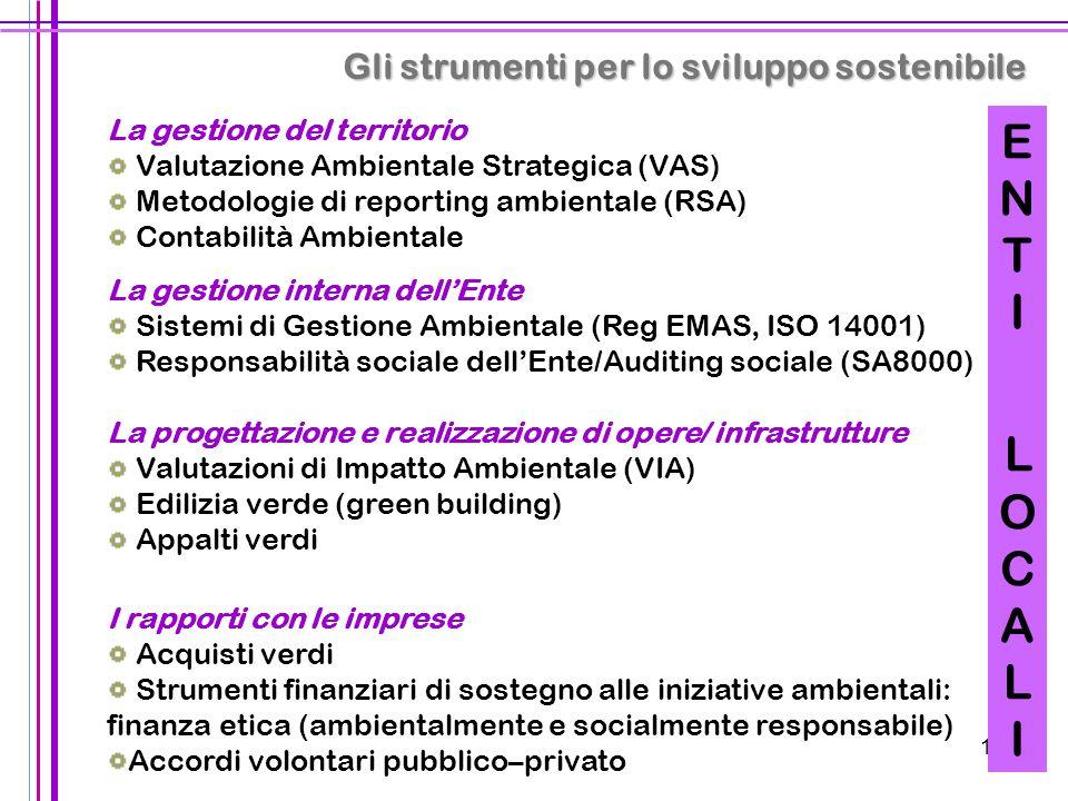 13 La gestione del territorio Valutazione Ambientale Strategica (VAS) Metodologie di reporting ambientale (RSA) Contabilità Ambientale La gestione int