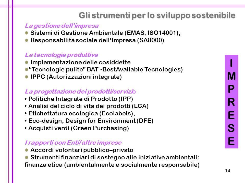 14 Gli strumenti per lo sviluppo sostenibile IMPRESEIMPRESE La gestione dell'impresa Sistemi di Gestione Ambientale (EMAS, ISO14001), Responsabilità s
