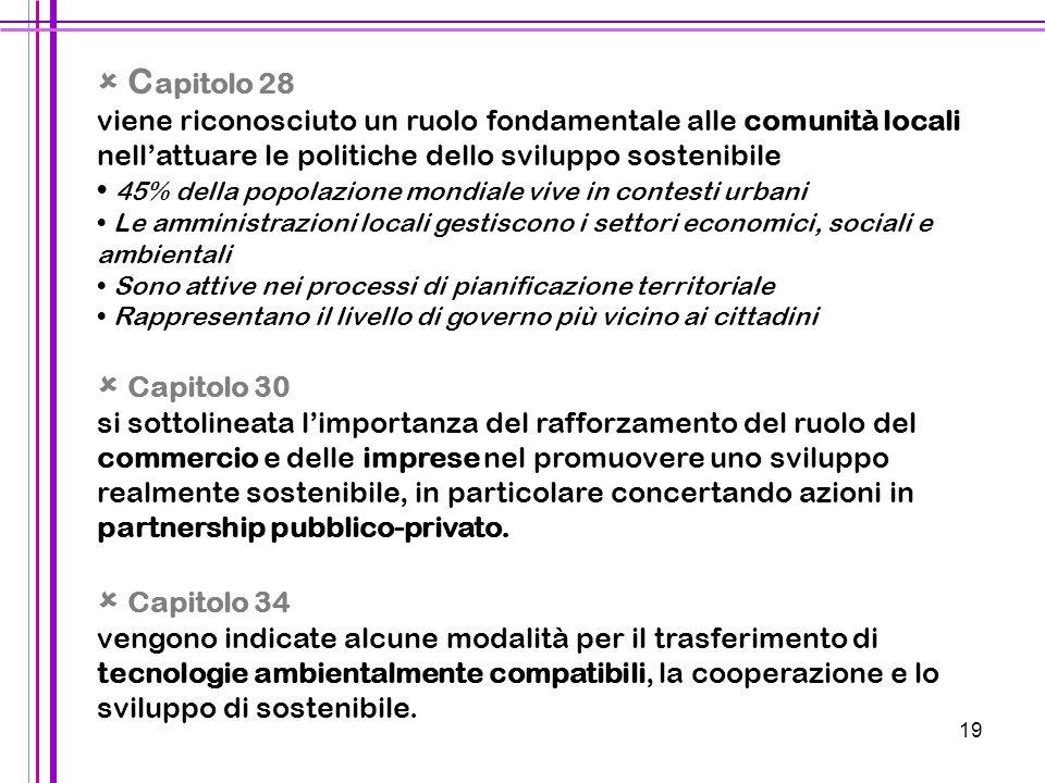 19  C apitolo 28 viene riconosciuto un ruolo fondamentale alle comunità locali nell'attuare le politiche dello sviluppo sostenibile 45% della popolaz