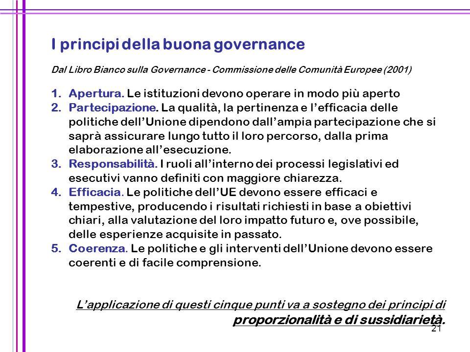 21 I principi della buona governance Dal Libro Bianco sulla Governance - Commissione delle Comunità Europee (2001) 1. 1.Apertura. Le istituzioni devon