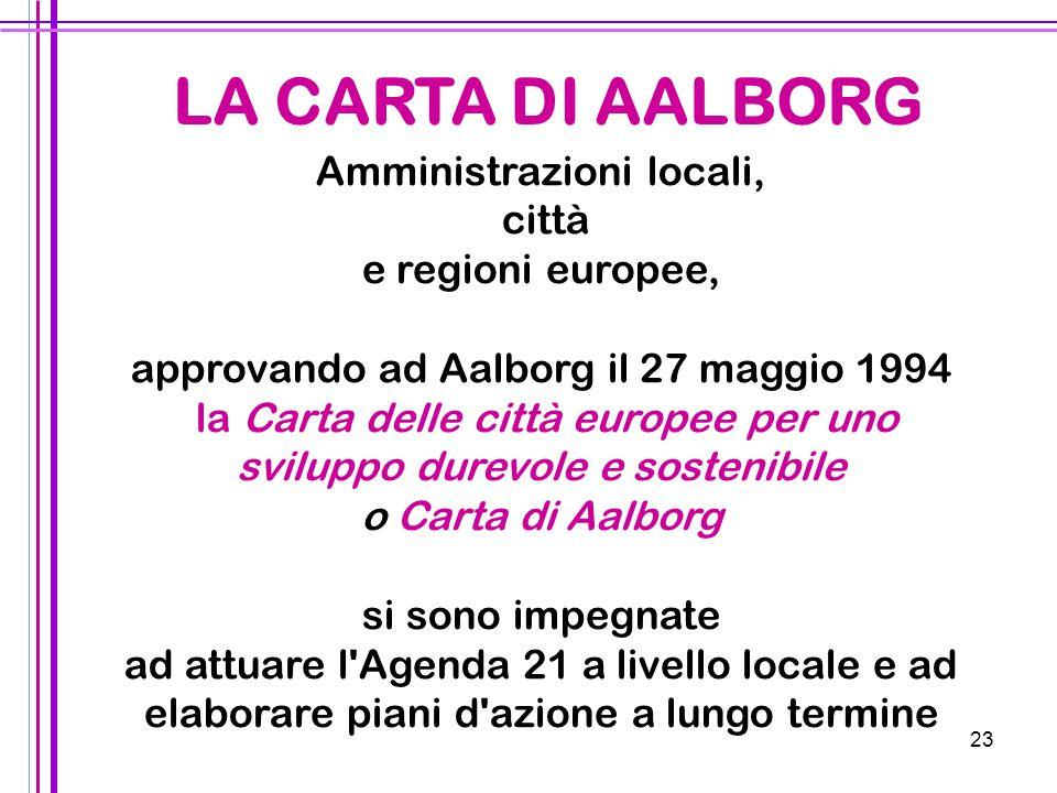 23 LA CARTA DI AALBORG Amministrazioni locali, città e regioni europee, approvando ad Aalborg il 27 maggio 1994 la Carta delle città europee per uno s