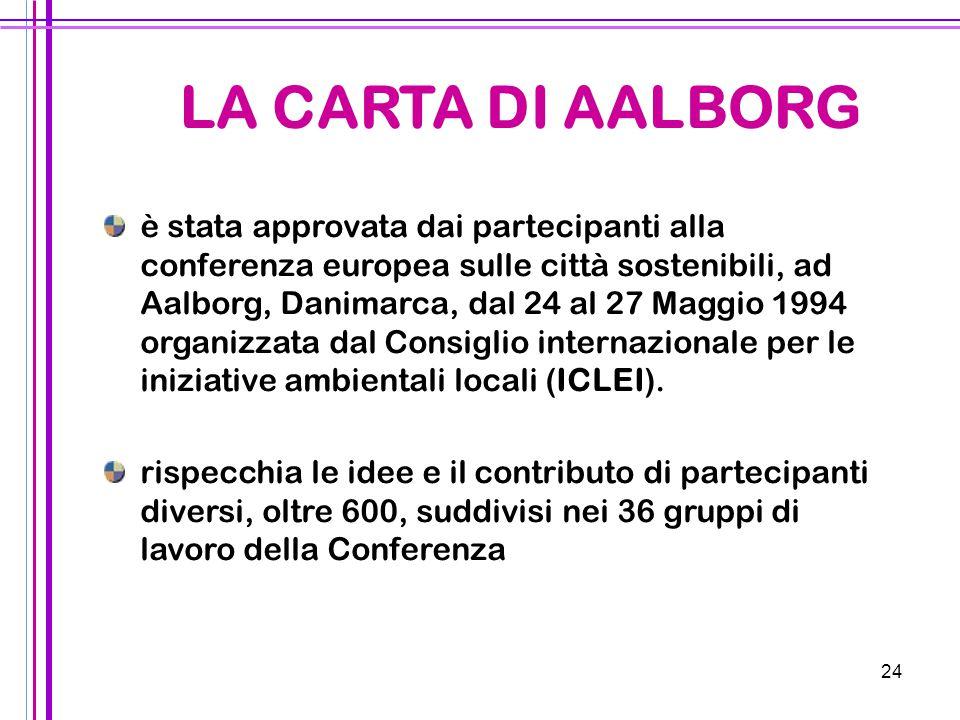 24 è stata approvata dai partecipanti alla conferenza europea sulle città sostenibili, ad Aalborg, Danimarca, dal 24 al 27 Maggio 1994 organizzata dal