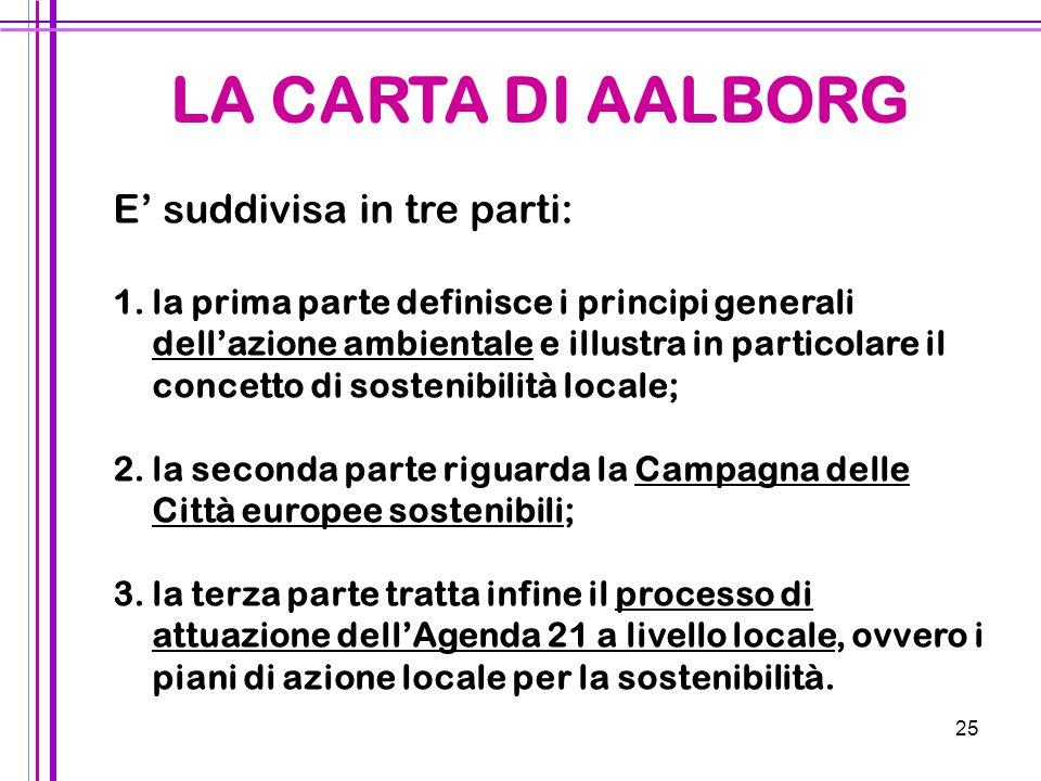 25 E' suddivisa in tre parti: 1. 1.la prima parte definisce i principi generali dell'azione ambientale e illustra in particolare il concetto di sosten
