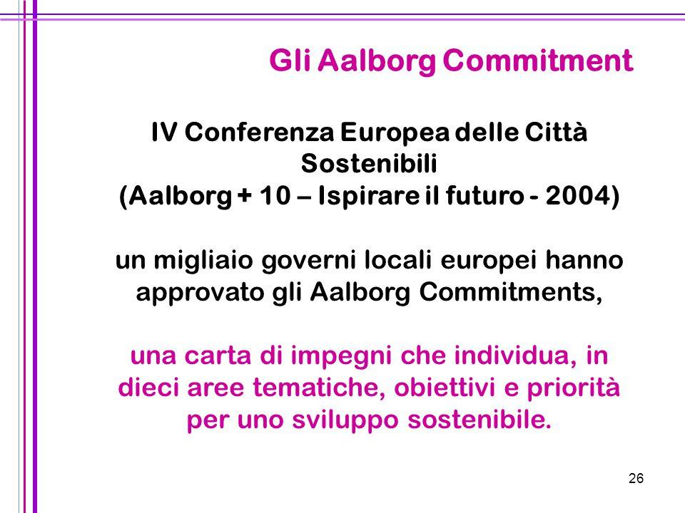 26 IV Conferenza Europea delle Città Sostenibili (Aalborg + 10 – Ispirare il futuro - 2004) un migliaio governi locali europei hanno approvato gli Aal