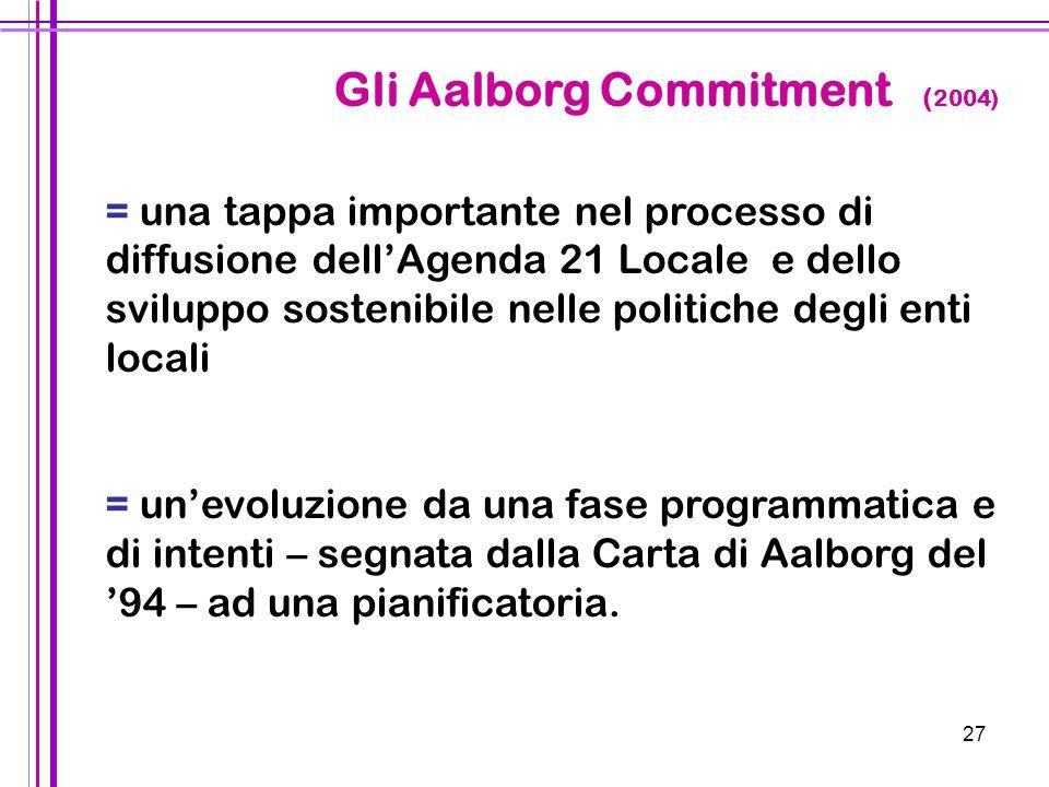 27 Gli Aalborg Commitment ( 2004) = una tappa importante nel processo di diffusione dell'Agenda 21 Locale e dello sviluppo sostenibile nelle politiche
