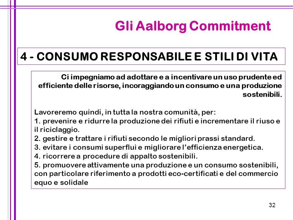 32 Gli Aalborg Commitment 4 - CONSUMO RESPONSABILE E STILI DI VITA Ci impegniamo ad adottare e a incentivare un uso prudente ed efficiente delle risor