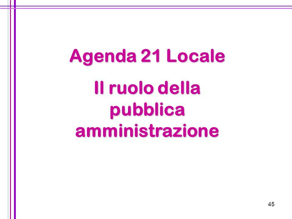 45 Agenda 21 Locale Il ruolo della pubblica amministrazione