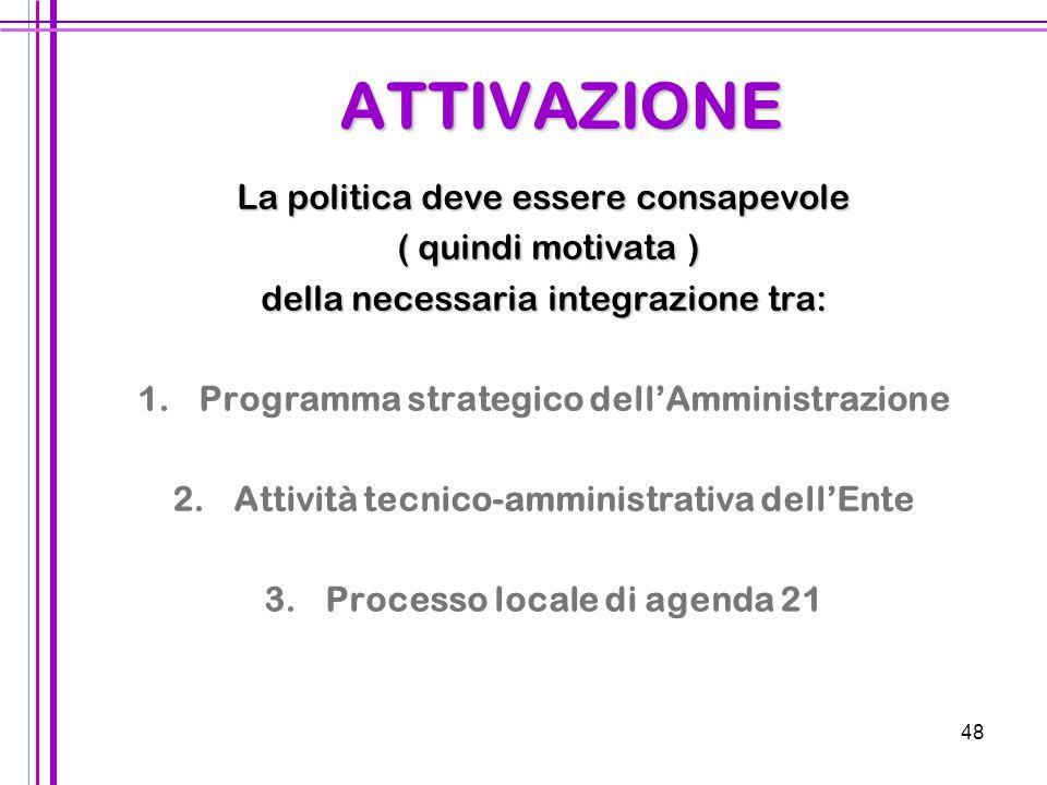 48 ATTIVAZIONE La politica deve essere consapevole ( quindi motivata ) ( quindi motivata ) della necessaria integrazione tra: 1.Programma strategico d