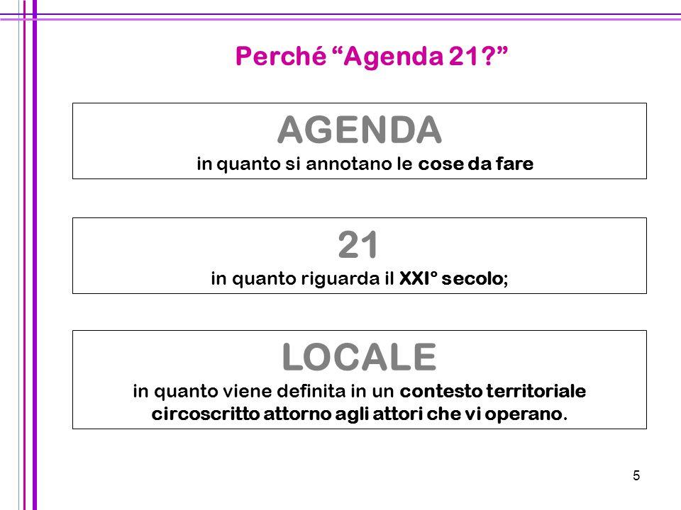 5 21 in quanto riguarda il XXI° secolo; AGENDA in quanto si annotano le cose da fare LOCALE in quanto viene definita in un contesto territoriale circo