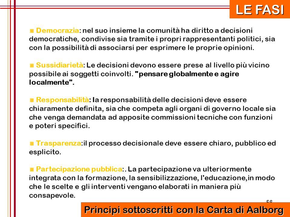 56 Democrazia: nel suo insieme la comunità ha diritto a decisioni democratiche, condivise sia tramite i propri rappresentanti politici, sia con la pos