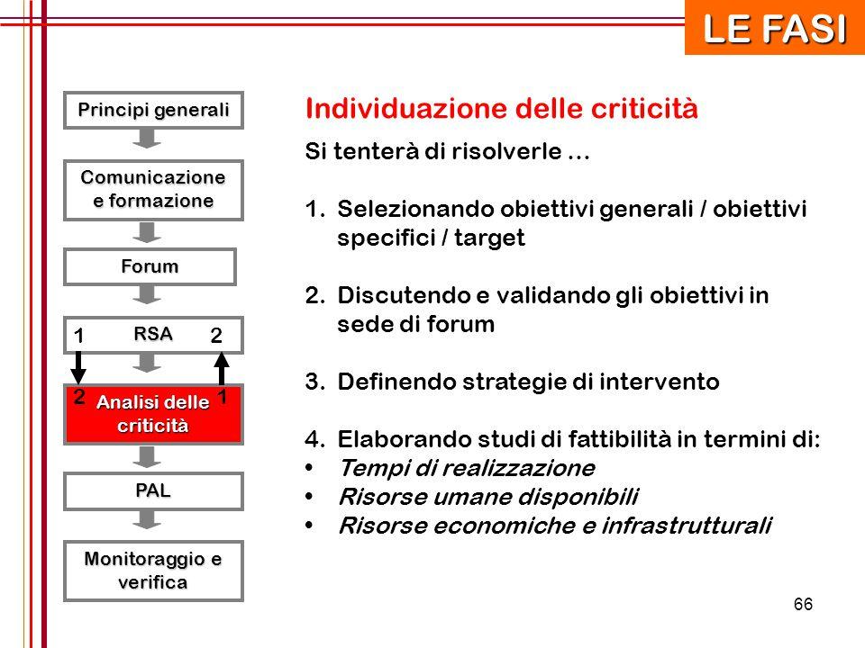 66 Principi generali RSA Forum Comunicazione e formazione Analisi delle criticità PAL Monitoraggio e verifica Individuazione delle criticità Si tenter