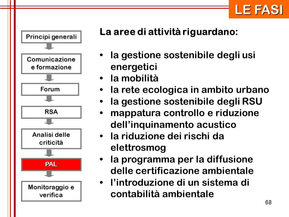 68 Principi generali RSA Forum Comunicazione e formazione Analisi delle criticità PAL Monitoraggio e verifica LE FASI La aree di attività riguardano: