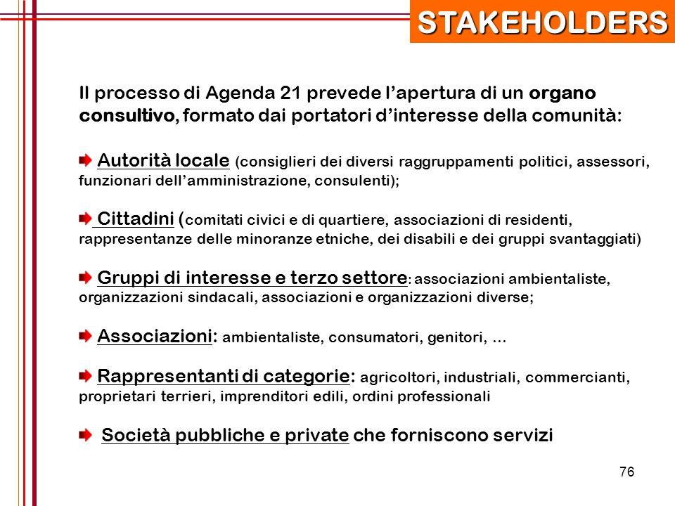 76 Il processo di Agenda 21 prevede l'apertura di un organo consultivo, formato dai portatori d'interesse della comunità: Autorità locale (consiglieri