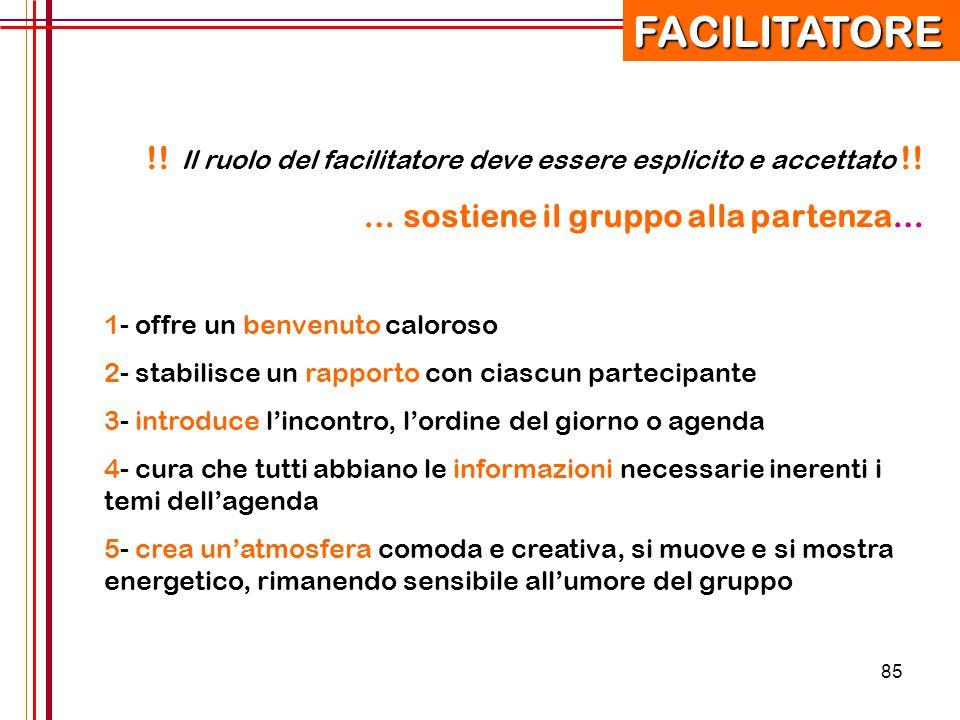 85 !! Il ruolo del facilitatore deve essere esplicito e accettato !! … sostiene il gruppo alla partenza… 1- offre un benvenuto caloroso 2- stabilisce