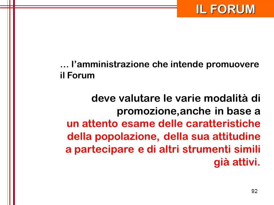 92 … l'amministrazione che intende promuovere il Forum deve valutare le varie modalità di promozione,anche in base a un attento esame delle caratteris