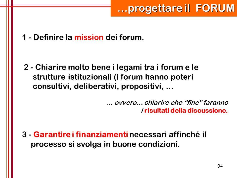 94 1 - Definire la mission dei forum. 2 - Chiarire molto bene i legami tra i forum e le strutture istituzionali (i forum hanno poteri consultivi, deli